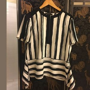 BCBGMaxazria Striped Short Sleeve Blouse
